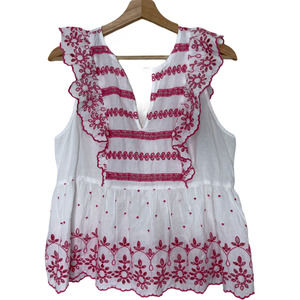 GAP Embroidered Ruffled Sleeveless Blouse Women's Size S NWT